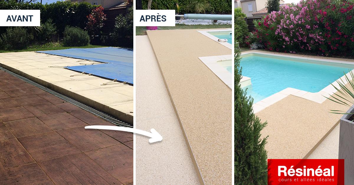 aménagement contour de piscine en résine drainante