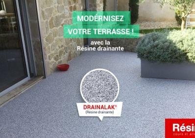 aménagement de terrasse en résine drainante