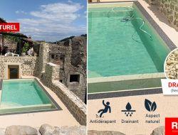 Aménagement piscine en résine drainante couleur ivoire